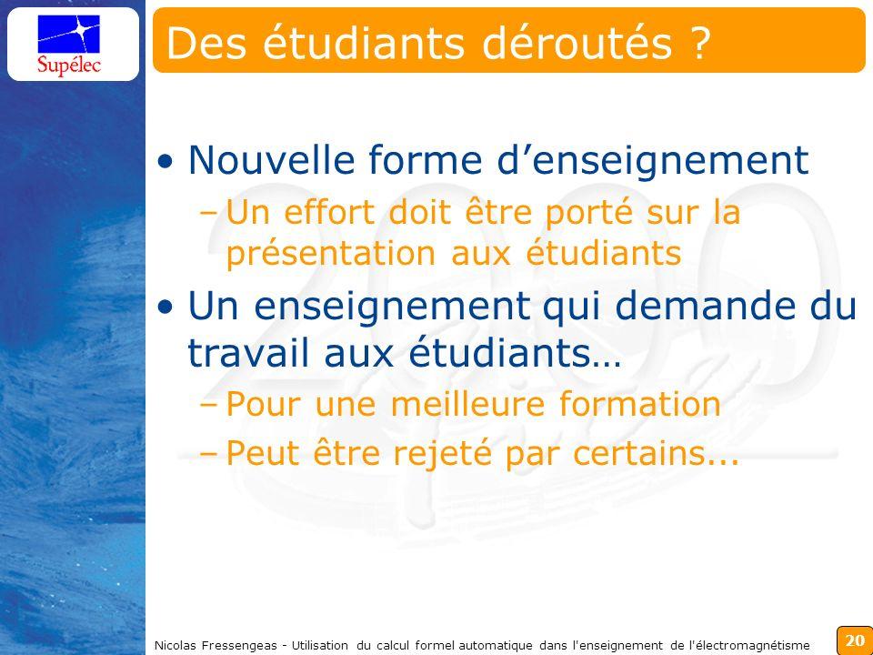 20 Nicolas Fressengeas - Utilisation du calcul formel automatique dans l enseignement de l électromagnétisme Des étudiants déroutés .