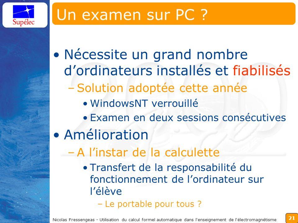 21 Nicolas Fressengeas - Utilisation du calcul formel automatique dans l'enseignement de l'électromagnétisme Un examen sur PC ? Nécessite un grand nom