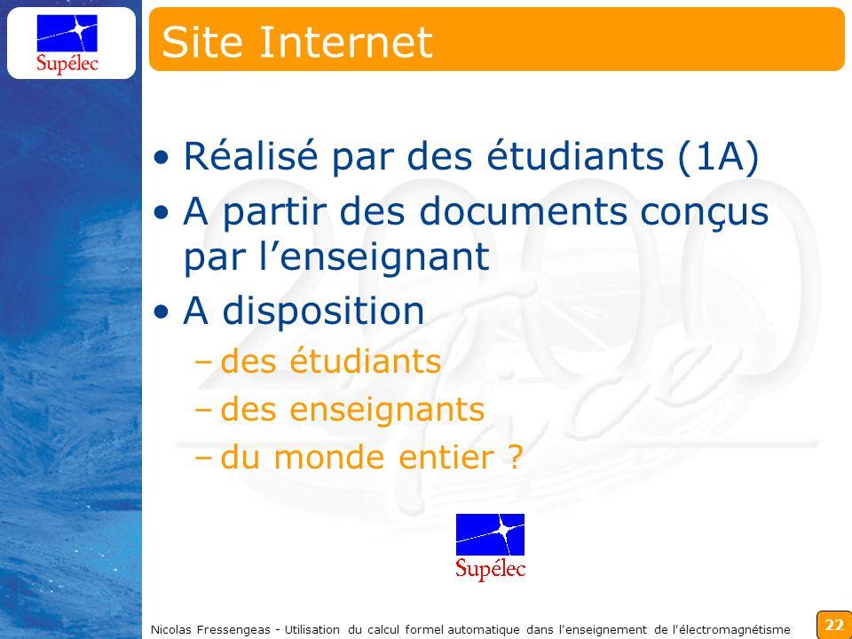 22 Nicolas Fressengeas - Utilisation du calcul formel automatique dans l'enseignement de l'électromagnétisme Site Internet Réalisé par des étudiants (