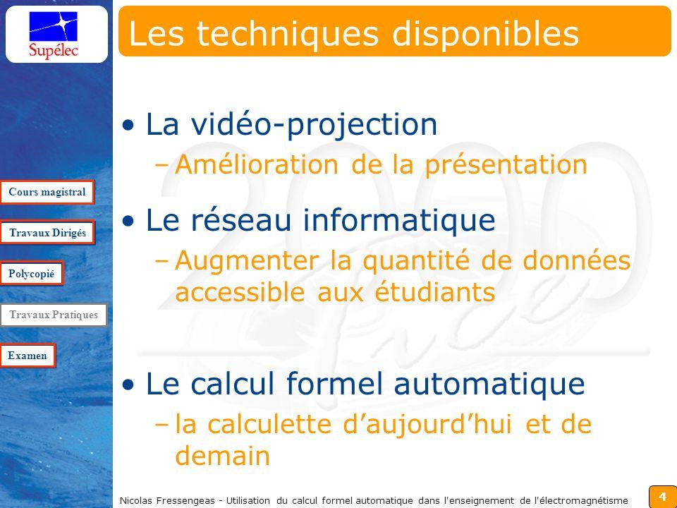 4 Nicolas Fressengeas - Utilisation du calcul formel automatique dans l'enseignement de l'électromagnétisme Les techniques disponibles La vidéo-projec