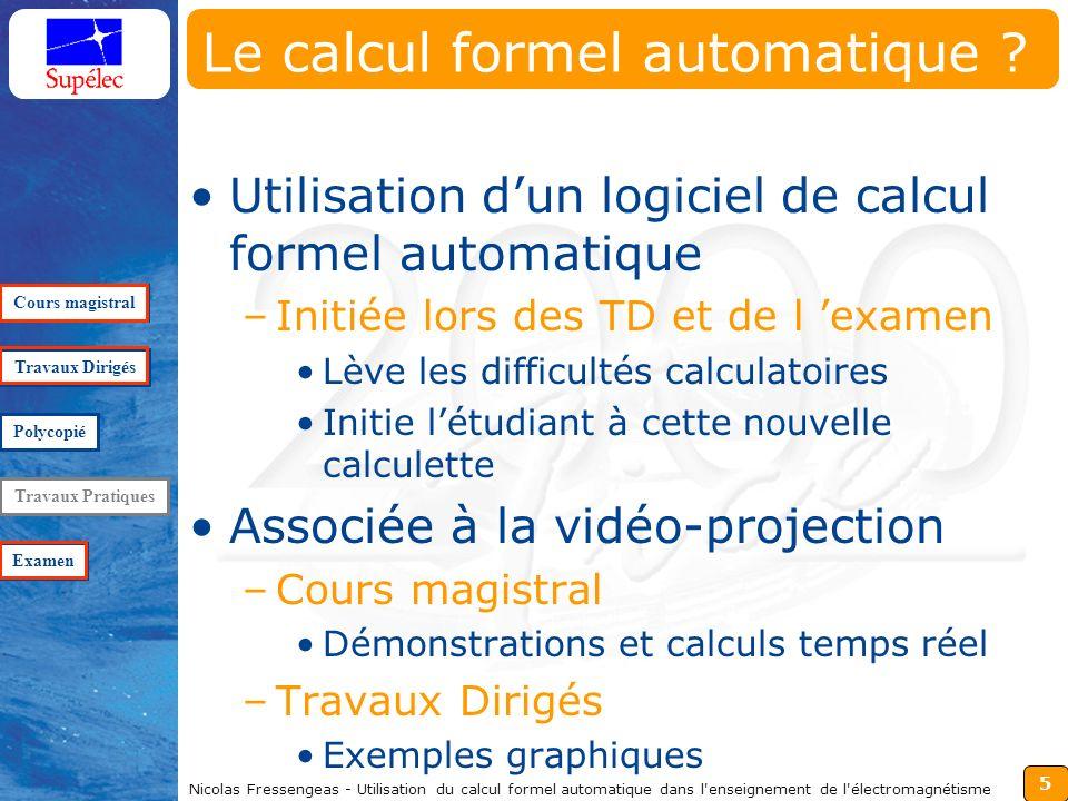 5 Nicolas Fressengeas - Utilisation du calcul formel automatique dans l'enseignement de l'électromagnétisme Le calcul formel automatique ? Utilisation