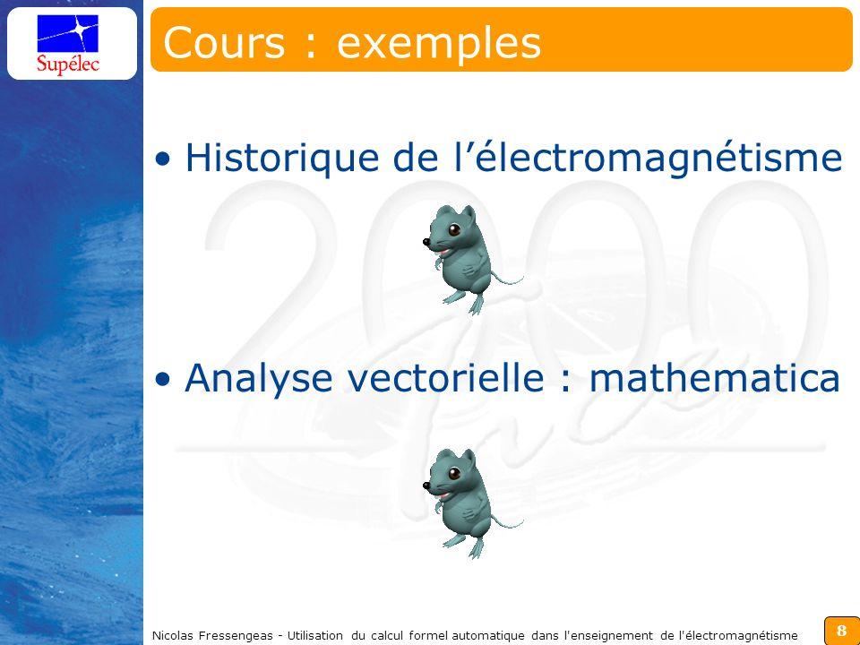 8 Nicolas Fressengeas - Utilisation du calcul formel automatique dans l enseignement de l électromagnétisme Cours : exemples Historique de lélectromagnétisme Analyse vectorielle : mathematica