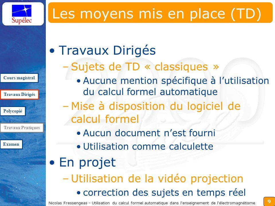 9 Nicolas Fressengeas - Utilisation du calcul formel automatique dans l'enseignement de l'électromagnétisme Les moyens mis en place (TD) Travaux Dirig