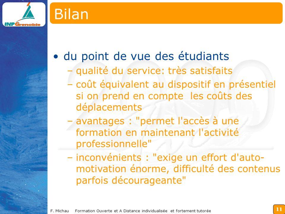 11 F. Michau Formation Ouverte et A Distance individualisée et fortement tutorée du point de vue des étudiants –qualité du service: très satisfaits –c