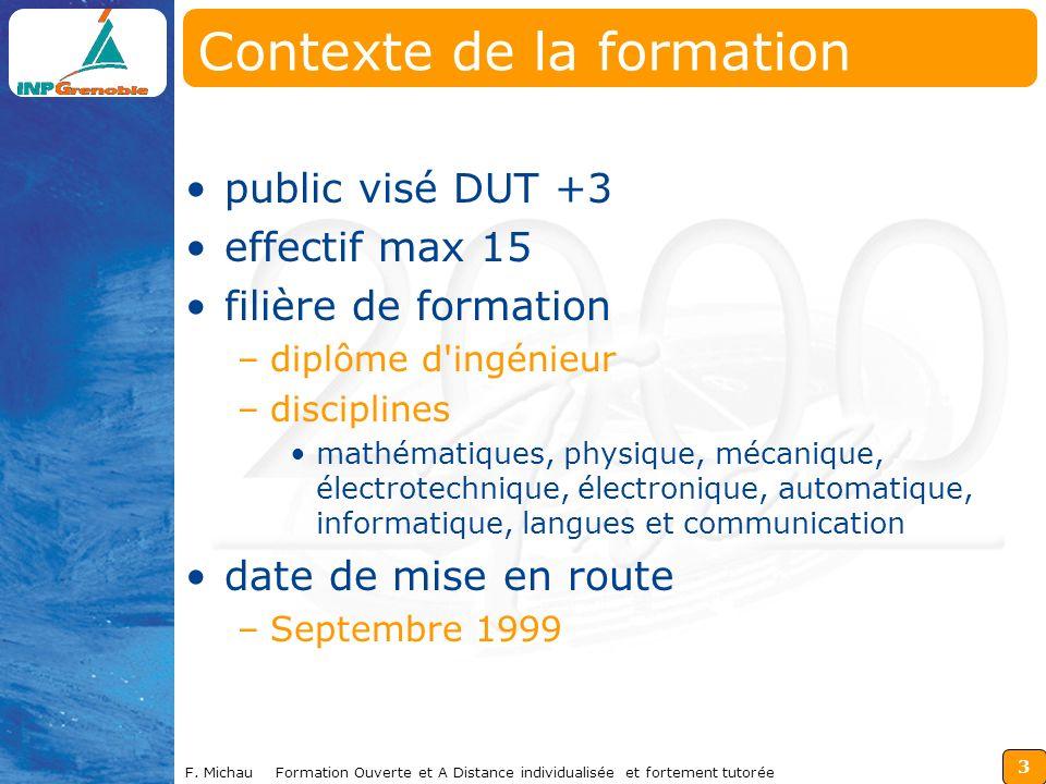 3 F. Michau Formation Ouverte et A Distance individualisée et fortement tutorée Contexte de la formation public visé DUT +3 effectif max 15 filière de