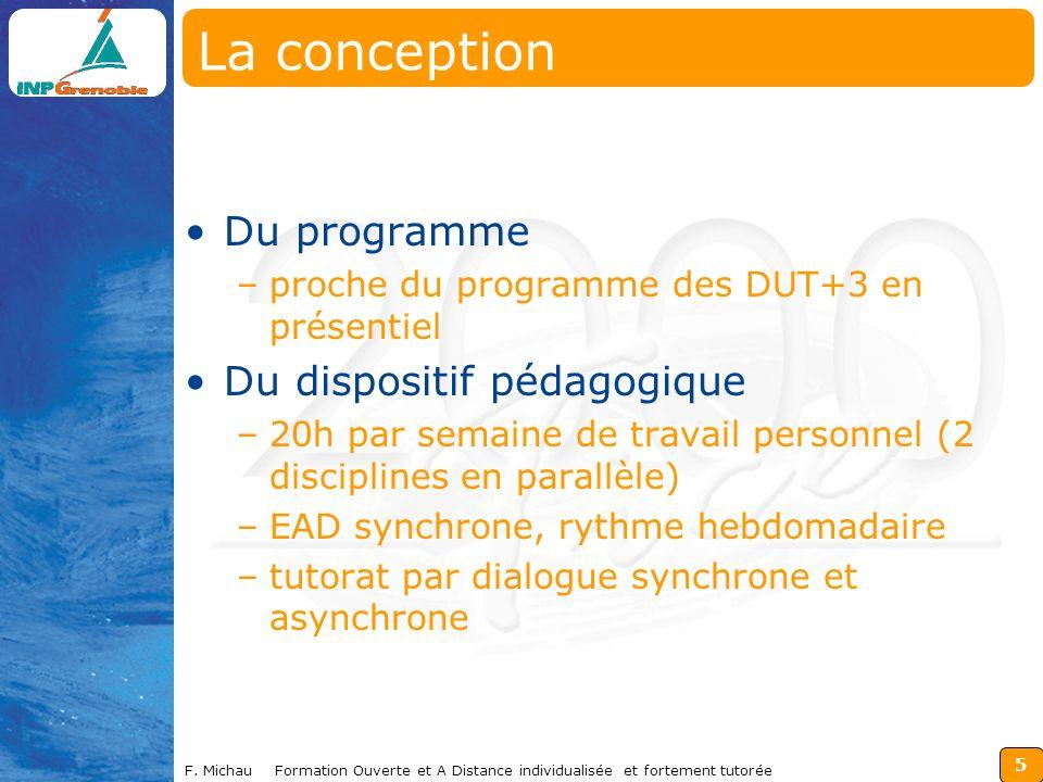 5 F. Michau Formation Ouverte et A Distance individualisée et fortement tutorée La conception Du programme –proche du programme des DUT+3 en présentie