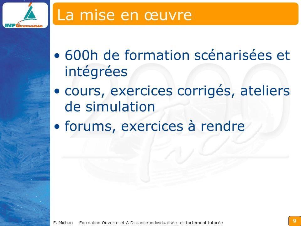 9 F. Michau Formation Ouverte et A Distance individualisée et fortement tutorée La mise en œuvre 600h de formation scénarisées et intégrées cours, exe