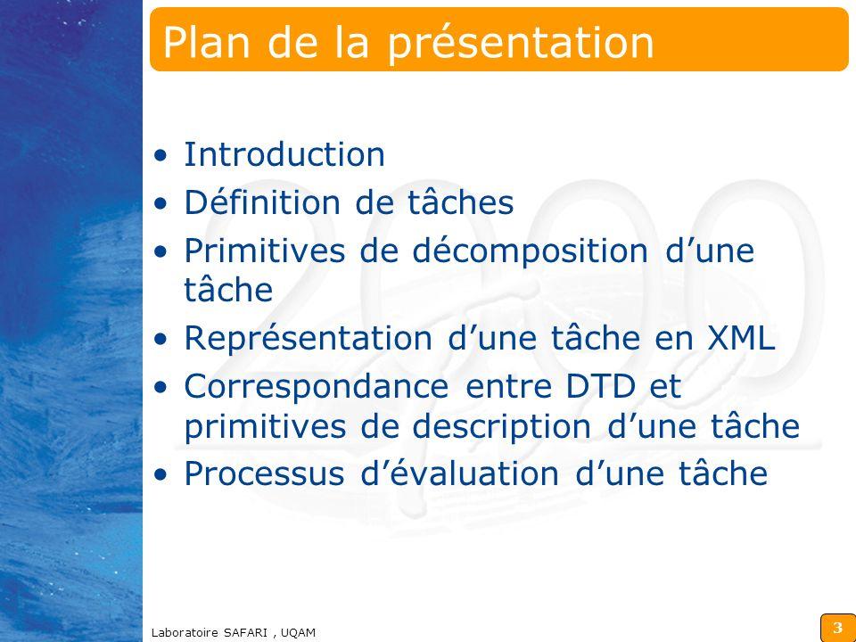 2 Utilisation de XML pour la Validation des Tâches dans un Système Tutoriel Intelligent Azly Nacro, Bernard Lefebvre Laboratoire SAFARI Université du