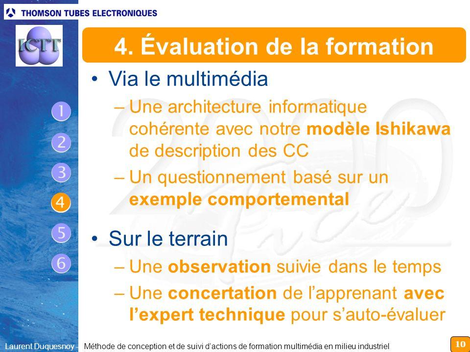 10 Laurent Duquesnoy - Méthode de conception et de suivi dactions de formation multimédia en milieu industriel 4. Évaluation de la formation Via le mu