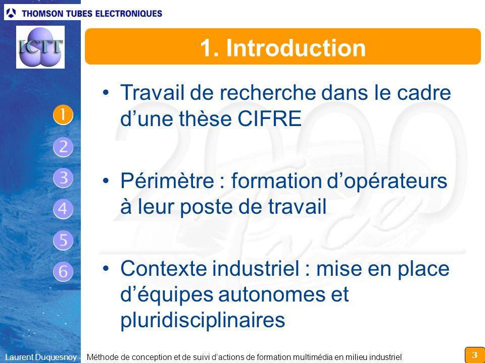 3 Laurent Duquesnoy - Méthode de conception et de suivi dactions de formation multimédia en milieu industriel 1. Introduction Travail de recherche dan