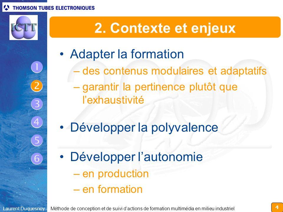 4 Laurent Duquesnoy - Méthode de conception et de suivi dactions de formation multimédia en milieu industriel 2. Contexte et enjeux Adapter la formati