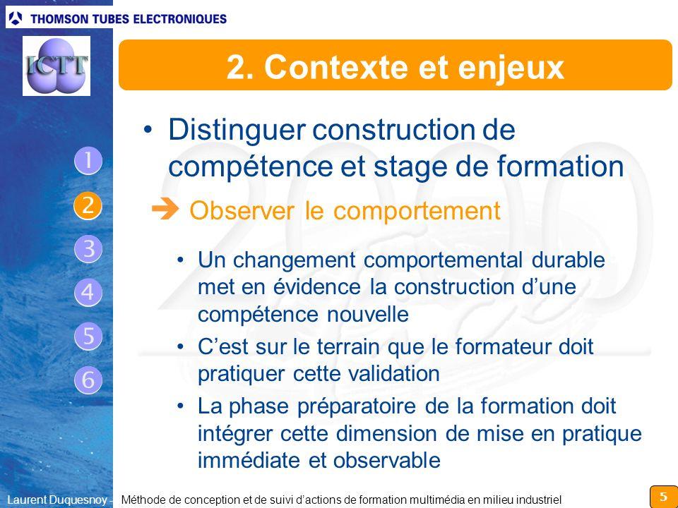 5 Laurent Duquesnoy - Méthode de conception et de suivi dactions de formation multimédia en milieu industriel 2. Contexte et enjeux Distinguer constru