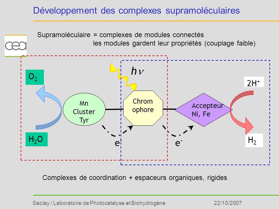 Saclay / Laboratoire de Photocatalyse et Biohydrogène22/10/2007 h H2OH2O O2O2 Accepteur Ni, Fe 2H + H2H2 e-e- e-e- Chrom ophore Mn Cluster Tyr Dévelop