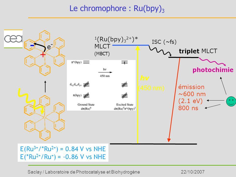 Saclay / Laboratoire de Photocatalyse et Biohydrogène22/10/2007 Le chromophore : Ru(bpy) 3 E(Ru 3+ /*Ru 2+ ) = 0.84 V vs NHE E(*Ru 2+ /Ru + ) = -0.86