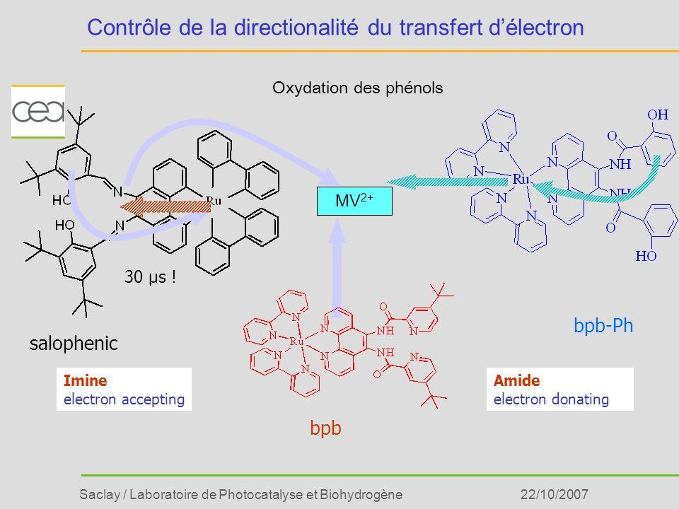 Saclay / Laboratoire de Photocatalyse et Biohydrogène22/10/2007 Contrôle de la directionalité du transfert délectron MV 2+ salophenic bpb bpb-Ph Imine