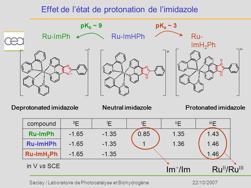 Saclay / Laboratoire de Photocatalyse et Biohydrogène22/10/2007 Deprotonated imidazoleProtonated imidazoleNeutral imidazole Ru-ImPhRu-ImHPhRu- ImH 2 P