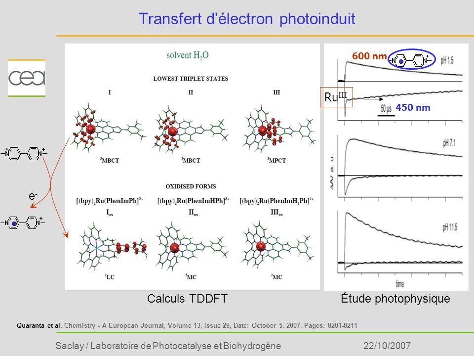 Saclay / Laboratoire de Photocatalyse et Biohydrogène22/10/2007 Transfert délectron photoinduit Ru III Calculs TDDFTÉtude photophysique e-e- Quaranta