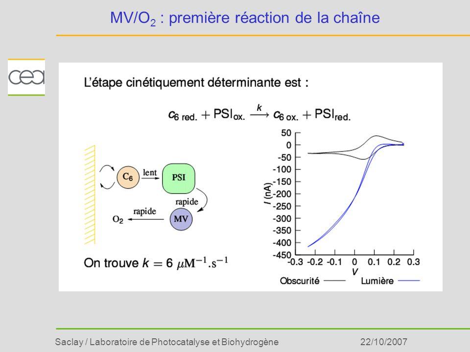 Saclay / Laboratoire de Photocatalyse et Biohydrogène22/10/2007 MV/O 2 : première réaction de la chaîne