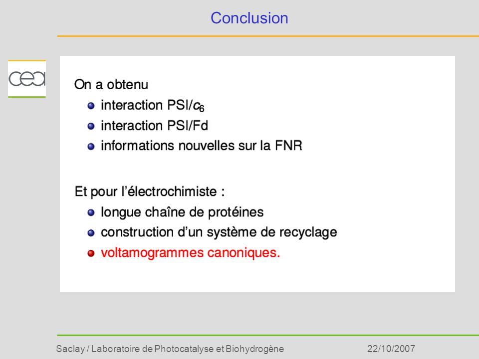 Saclay / Laboratoire de Photocatalyse et Biohydrogène22/10/2007 Conclusion