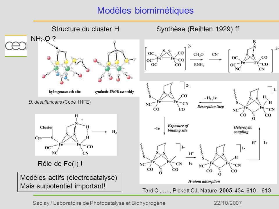 Saclay / Laboratoire de Photocatalyse et Biohydrogène22/10/2007 Modèles biomimétiques Tard C., …., Pickett CJ. Nature, 2005, 434, 610 – 613 Synthèse (