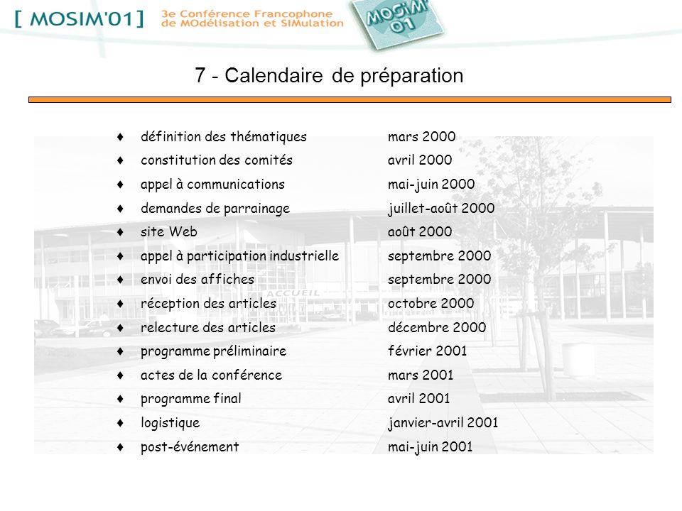 définition des thématiquesmars 2000 constitution des comitésavril 2000 appel à communicationsmai-juin 2000 demandes de parrainagejuillet-août 2000 sit