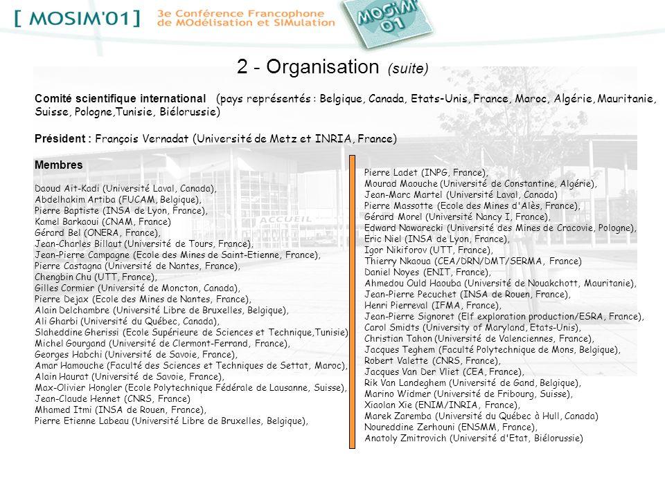 2 - Organisation (suite) Comité scientifique international (pays représentés : Belgique, Canada, Etats-Unis, France, Maroc, Algérie, Mauritanie, Suiss