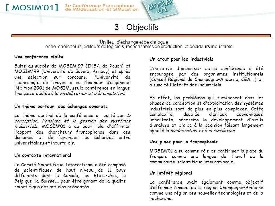 3 - Objectifs Une conférence ciblée Suite au succès de MOSIM'97 (INSA de Rouen) et MOSIM'99 (Université de Savoie, Annecy) et après une sélection sur