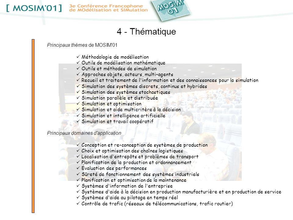 4 - Thématique Principaux thèmes de MOSIM'01 Méthodologie de modélisation Outils de modélisation mathématique Outils et méthodes de simulation Approch