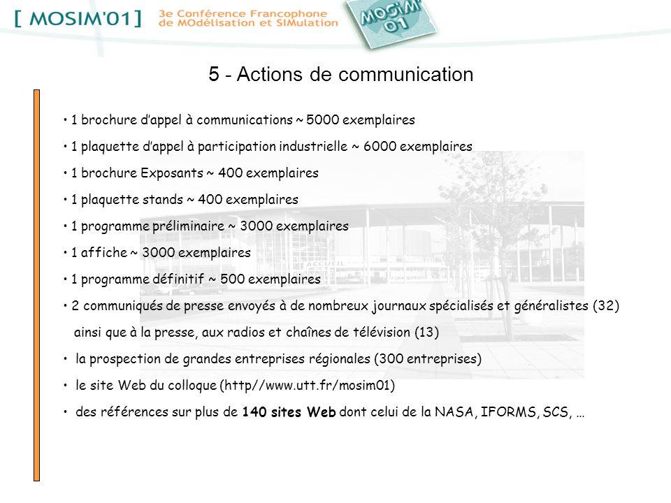 5 - Actions de communication 1 brochure dappel à communications ~ 5000 exemplaires 1 plaquette dappel à participation industrielle ~ 6000 exemplaires