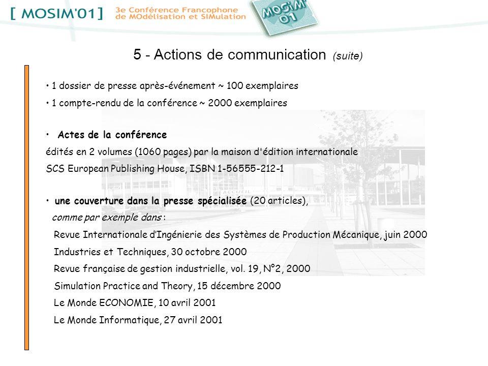 5 - Actions de communication (suite) 1 dossier de presse après-événement ~ 100 exemplaires 1 compte-rendu de la conférence ~ 2000 exemplaires Actes de