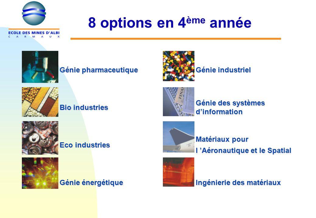 8 options en 4 ème année Génie pharmaceutique Génie industriel Bio industries Génie des systèmes dinformation Eco industries Matériaux pour l Aéronautique et le Spatial Matériaux pour l Aéronautique et le Spatial Génie énergétique Ingénierie des matériaux