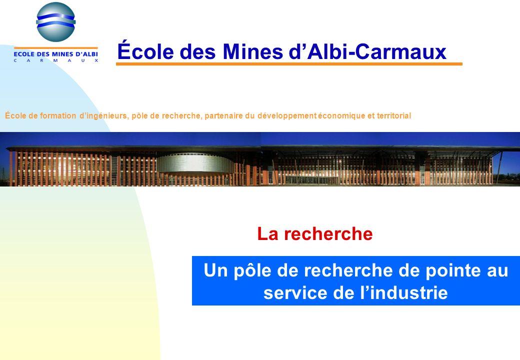 La recherche École des Mines dAlbi-Carmaux Un pôle de recherche de pointe au service de lindustrie École de formation dingénieurs, pôle de recherche, partenaire du développement économique et territorial