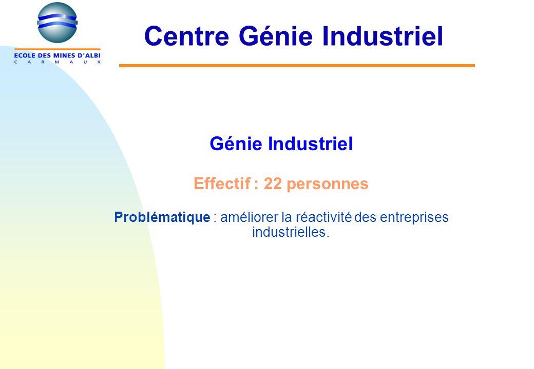 Centre Génie Industriel Génie Industriel Effectif : 22 personnes Problématique : améliorer la réactivité des entreprises industrielles.