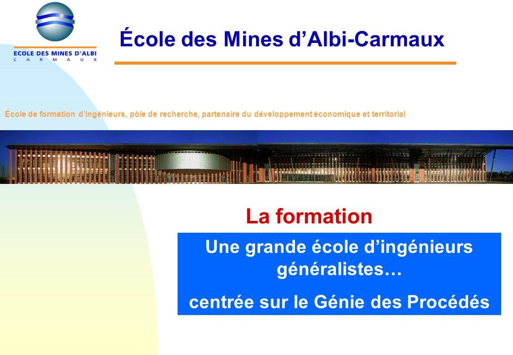 La formation École des Mines dAlbi-Carmaux Une grande école dingénieurs généralistes… centrée sur le Génie des Procédés École de formation dingénieurs