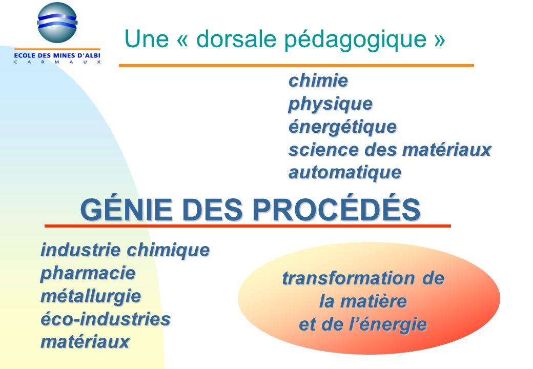 GÉNIE DES PROCÉDÉS chimiephysiqueénergétique science des matériaux automatique industrie chimique pharmaciemétallurgieéco-industriesmatériaux transformation de la matière et de lénergie Une « dorsale pédagogique »