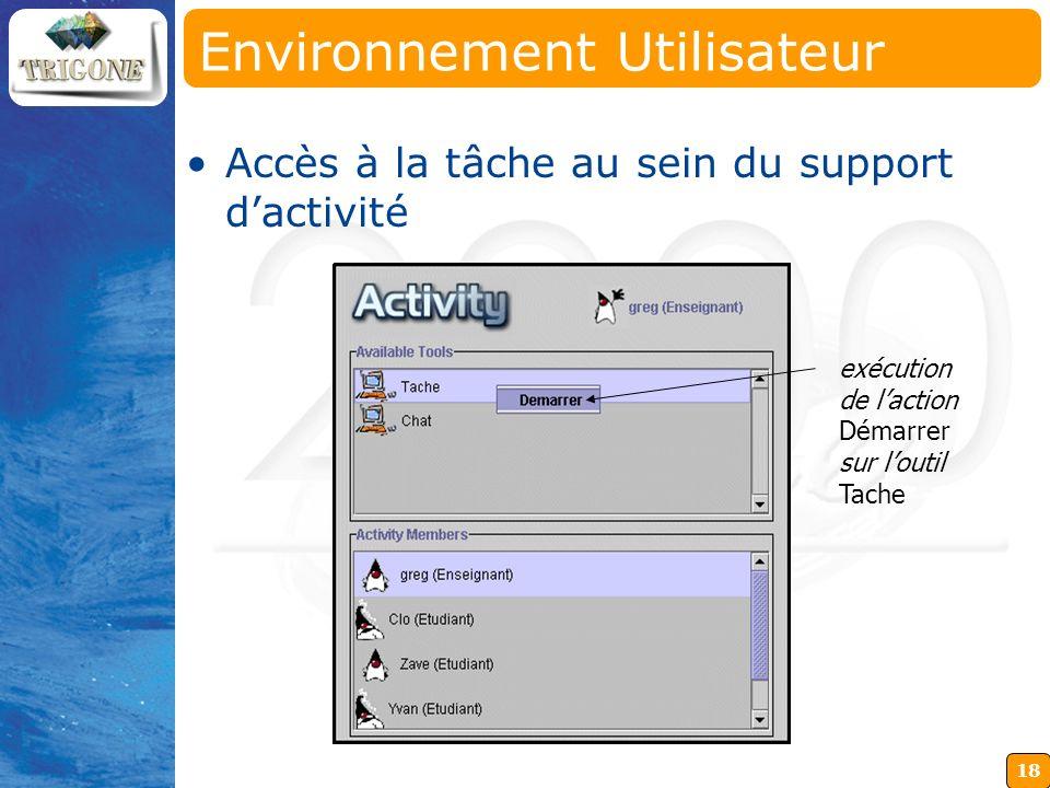 18 Environnement Utilisateur exécution de laction Démarrer sur loutil Tache Accès à la tâche au sein du support dactivité