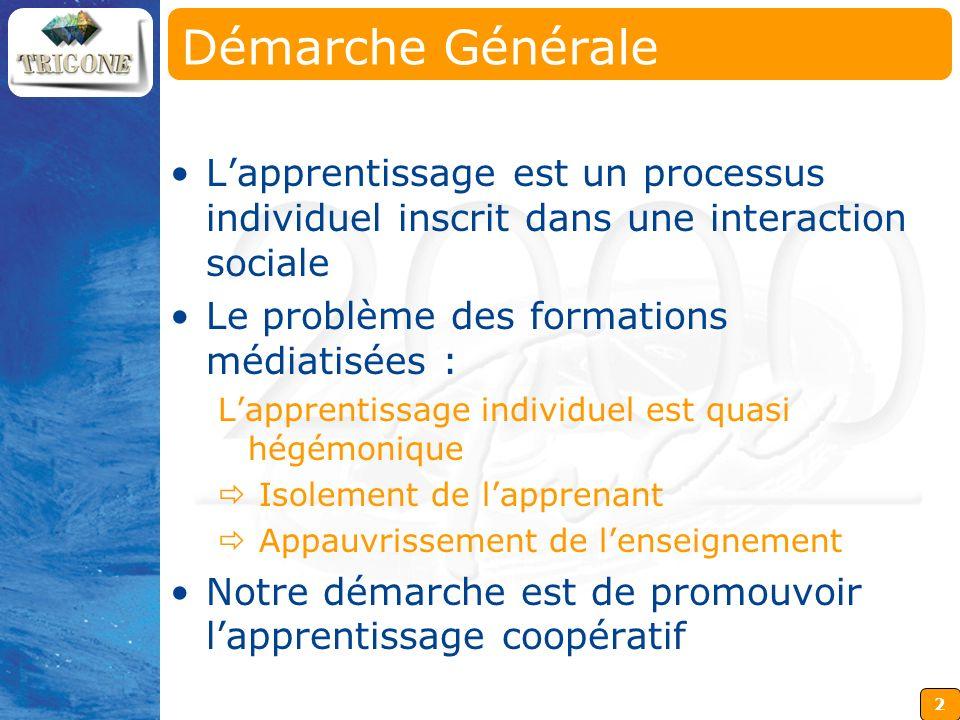 2 Démarche Générale Lapprentissage est un processus individuel inscrit dans une interaction sociale Le problème des formations médiatisées : Lapprenti