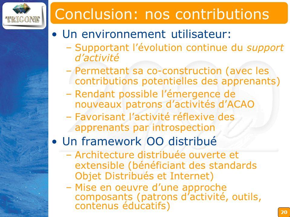 20 Conclusion: nos contributions Un environnement utilisateur: –Supportant lévolution continue du support dactivité –Permettant sa co-construction (av