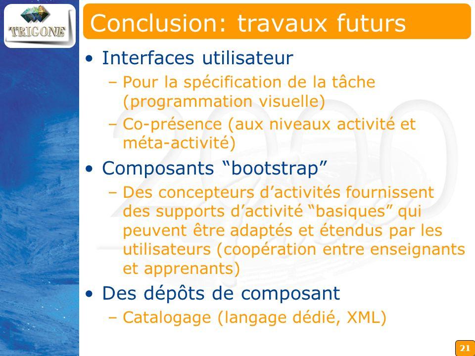 21 Conclusion: travaux futurs Interfaces utilisateur –Pour la spécification de la tâche (programmation visuelle) –Co-présence (aux niveaux activité et