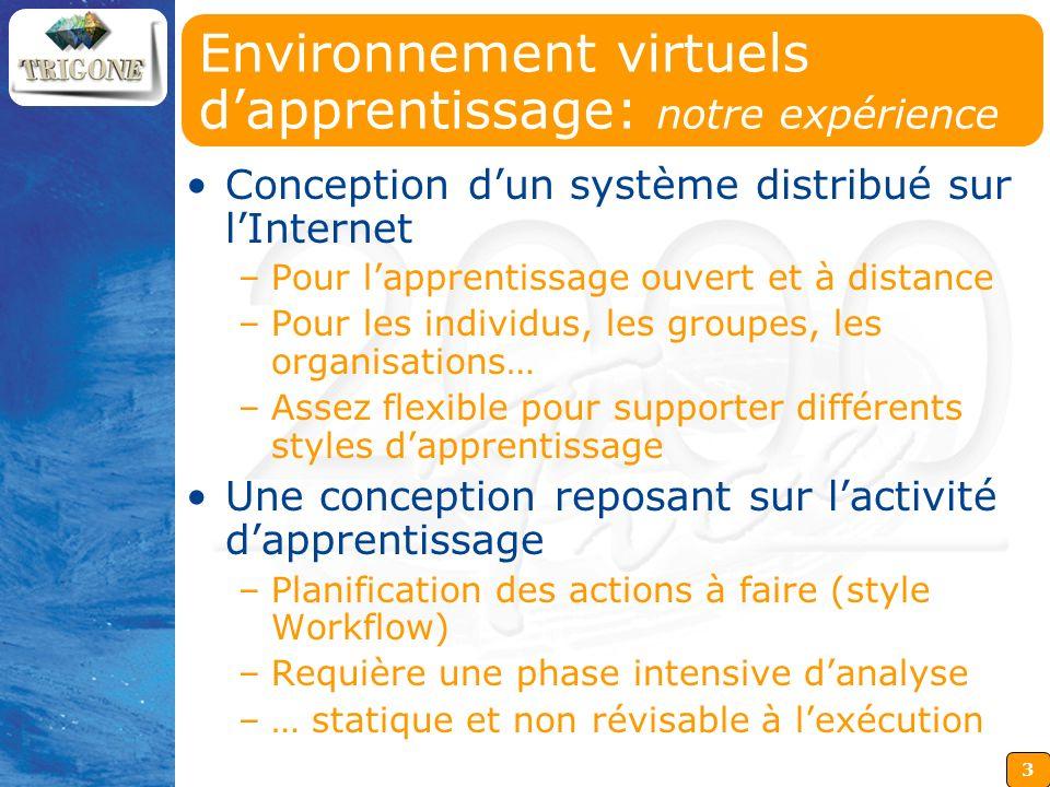 3 Environnement virtuels dapprentissage: notre expérience Conception dun système distribué sur lInternet –Pour lapprentissage ouvert et à distance –Po