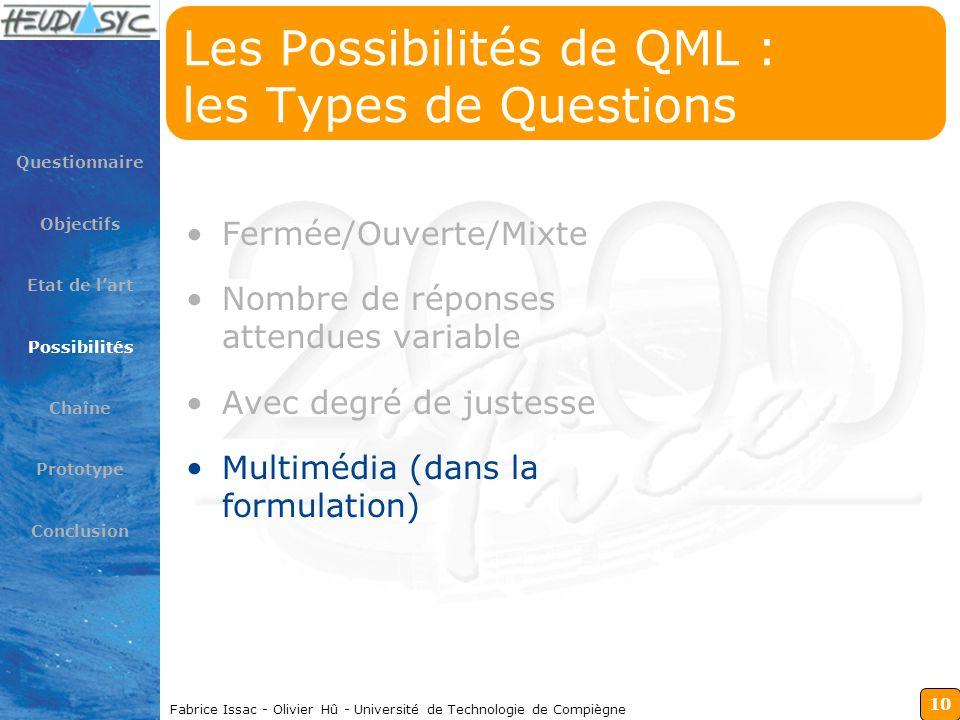10 Fabrice Issac - Olivier Hû - Université de Technologie de Compiègne Les Possibilités de QML : les Types de Questions Fermée/Ouverte/Mixte Nombre de