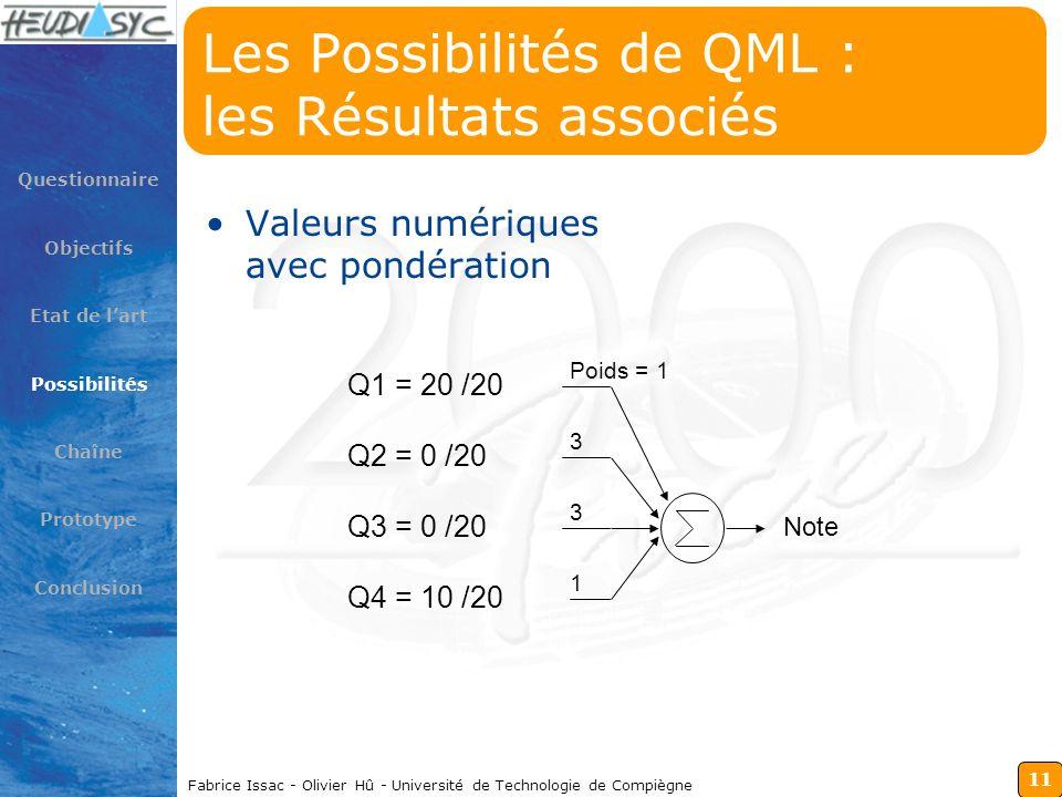 11 Fabrice Issac - Olivier Hû - Université de Technologie de Compiègne Les Possibilités de QML : les Résultats associés Valeurs numériques avec pondér