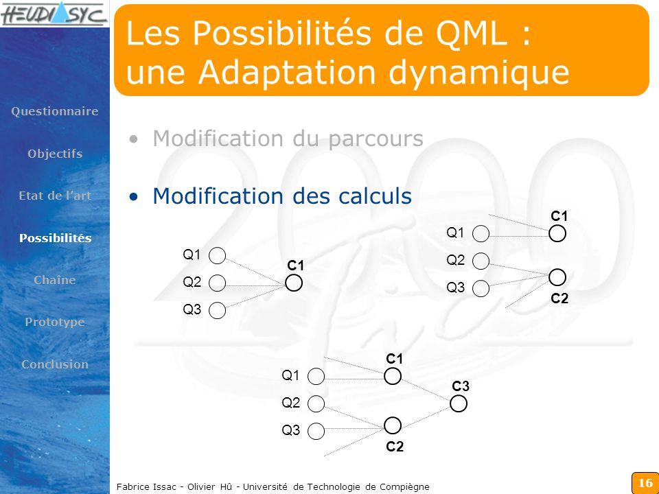 16 Fabrice Issac - Olivier Hû - Université de Technologie de Compiègne Les Possibilités de QML : une Adaptation dynamique Modification du parcours Mod