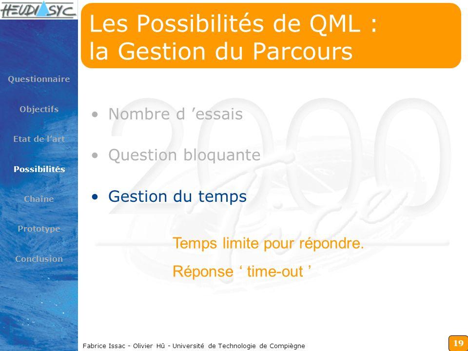 19 Fabrice Issac - Olivier Hû - Université de Technologie de Compiègne Les Possibilités de QML : la Gestion du Parcours Nombre d essais Question bloqu