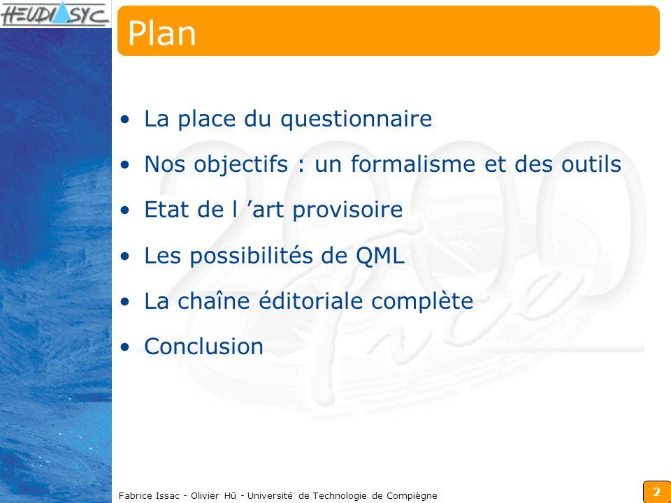 2 Fabrice Issac - Olivier Hû - Université de Technologie de Compiègne Plan La place du questionnaire Nos objectifs : un formalisme et des outils Etat