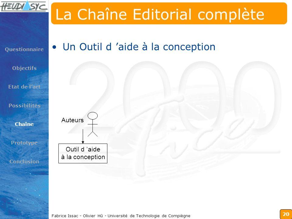 20 Fabrice Issac - Olivier Hû - Université de Technologie de Compiègne La Chaîne Editorial complète Un Outil d aide à la conception Questionnaire Obje