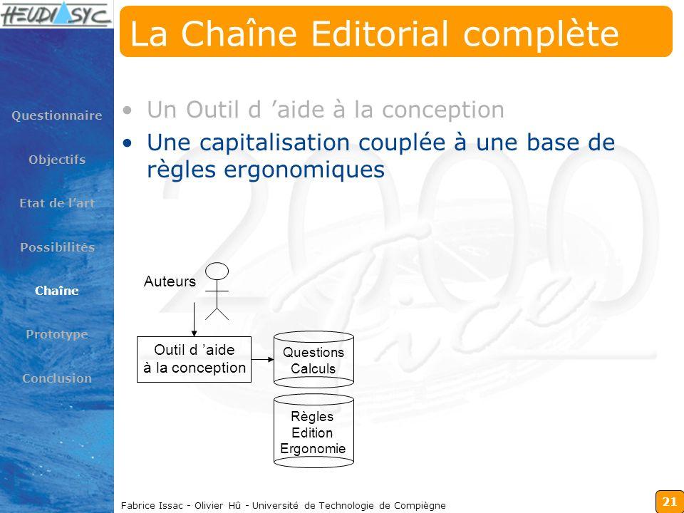 21 Fabrice Issac - Olivier Hû - Université de Technologie de Compiègne La Chaîne Editorial complète Un Outil d aide à la conception Une capitalisation