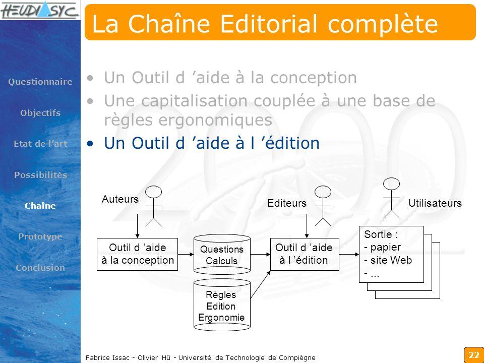22 Fabrice Issac - Olivier Hû - Université de Technologie de Compiègne La Chaîne Editorial complète Un Outil d aide à la conception Une capitalisation