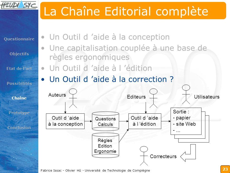 23 Fabrice Issac - Olivier Hû - Université de Technologie de Compiègne La Chaîne Editorial complète Un Outil d aide à la conception Une capitalisation