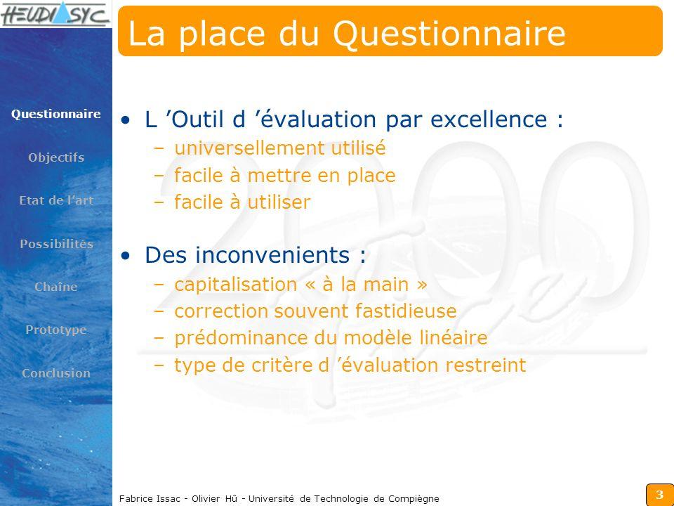 3 Fabrice Issac - Olivier Hû - Université de Technologie de Compiègne La place du Questionnaire L Outil d évaluation par excellence : –universellement